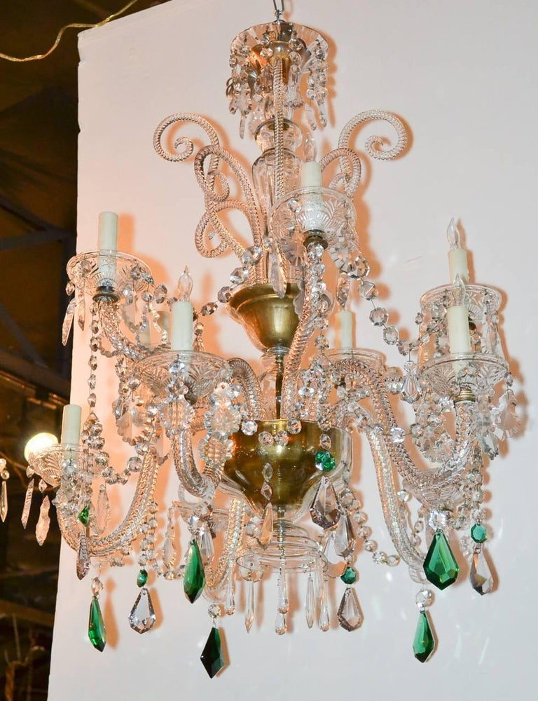 Early 20th Century English Crystal Ten-Light Chandelier For Sale