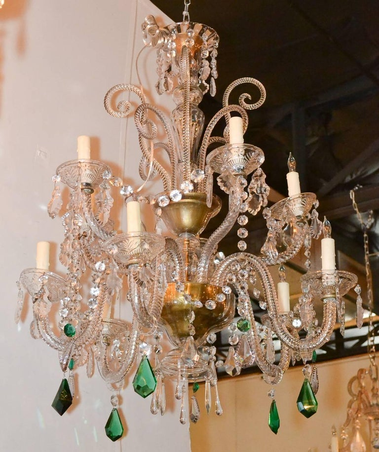 English Crystal Ten-Light Chandelier For Sale 3