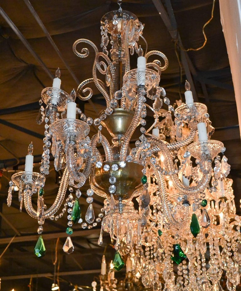 English Crystal Ten-Light Chandelier For Sale 4