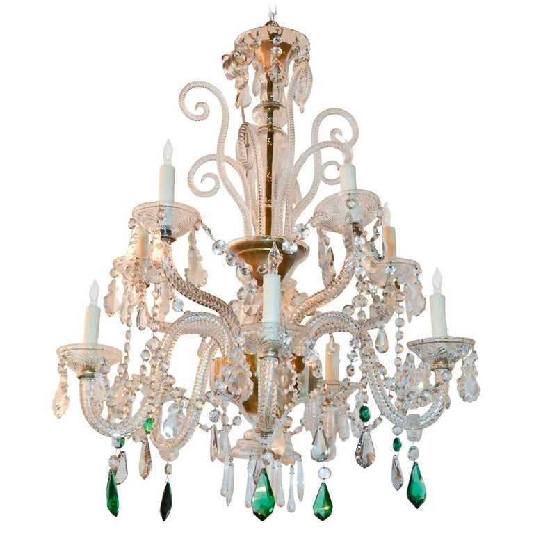 English Crystal Ten-Light Chandelier For Sale