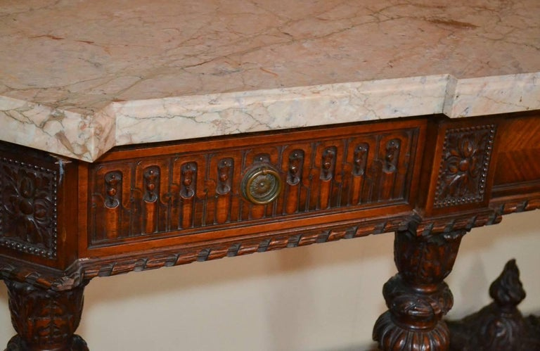 Carved French Louis XVI Walnut Console For Sale