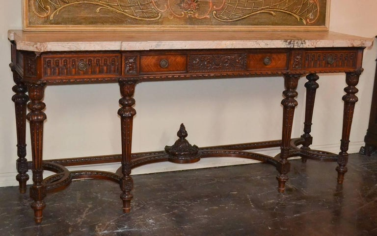 French Louis XVI Walnut Console In Good Condition For Sale In Dallas, TX