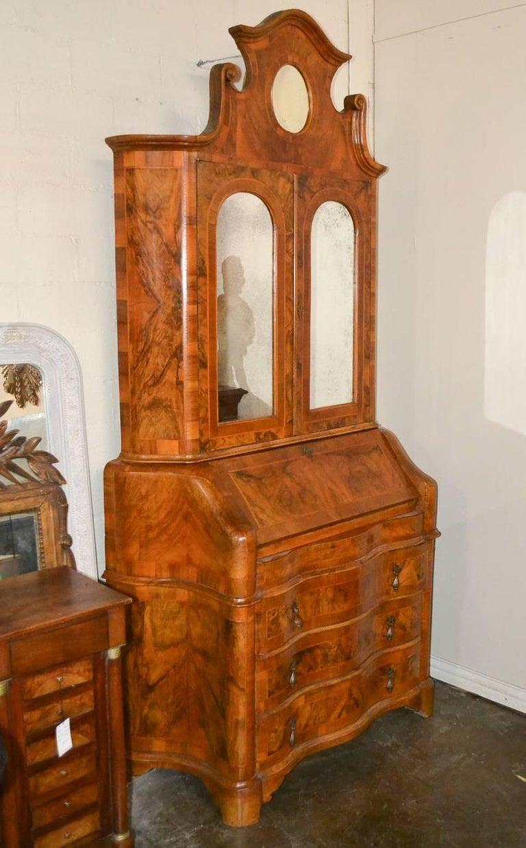 Antique Italian Burl Walnut Secretary For Sale 4