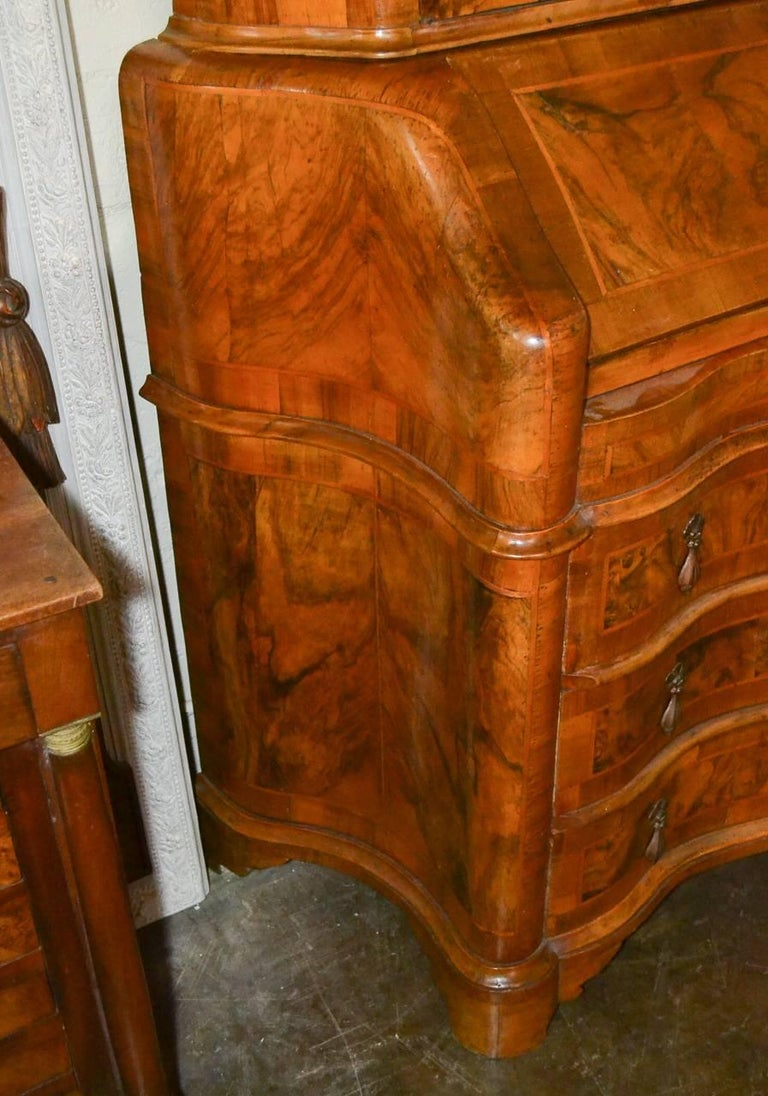 Antique Italian Burl Walnut Secretary For Sale 2