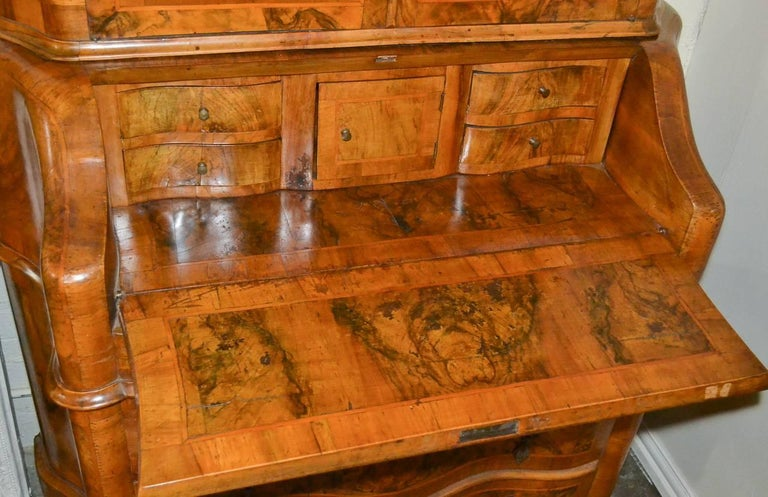 Antique Italian Burl Walnut Secretary For Sale 3