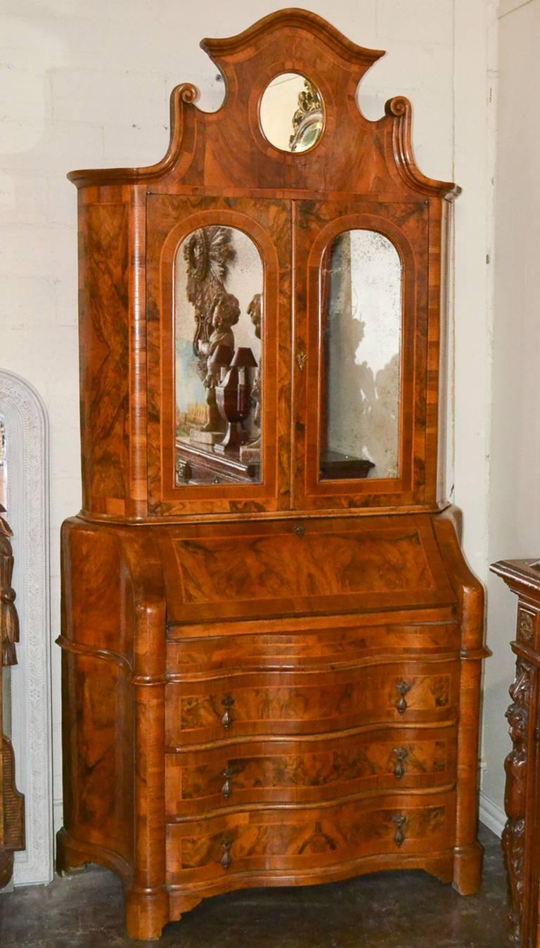Antique Italian Burl Walnut Secretary For Sale 1