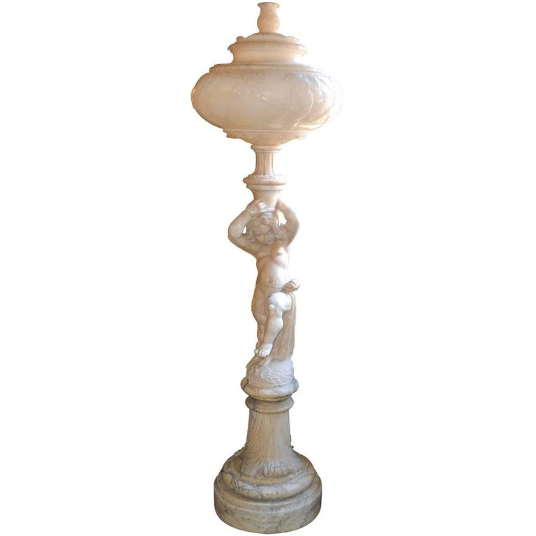 19th Century Italian Alabaster Floor Lamp