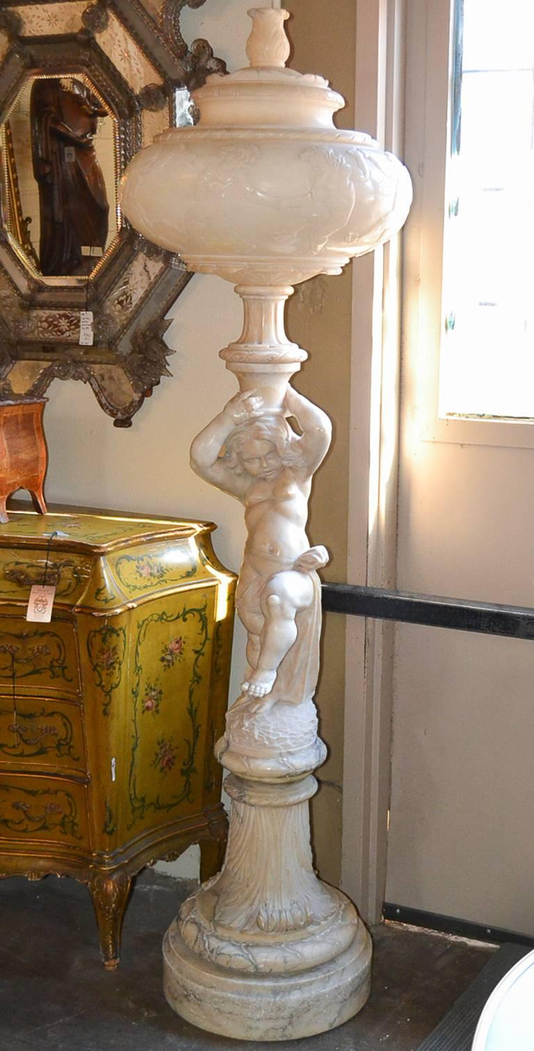 19th Century Italian Alabaster Floor Lamp At 1stdibs