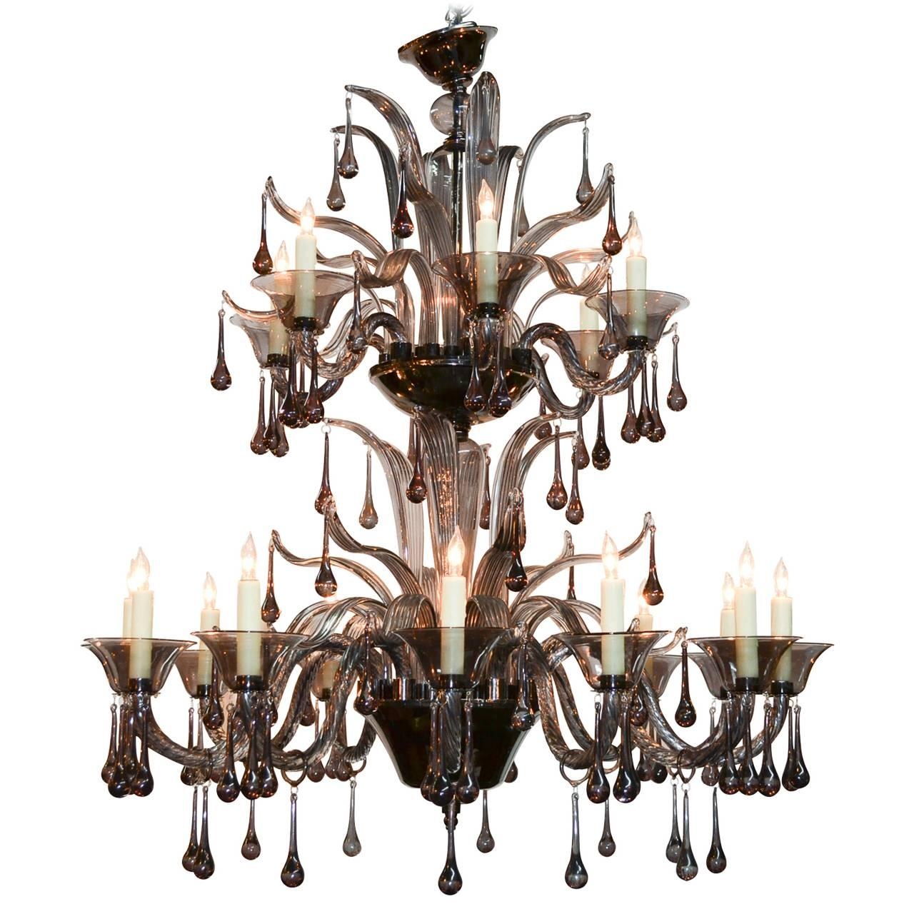 High Style Murano Black Glass Chandelier For Sale At 1stdibs
