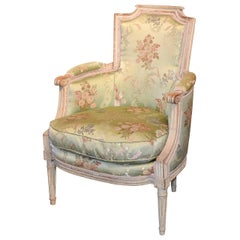 18th Century French Louis XVI Carved Bergere with Silk Upholstery