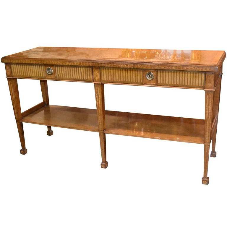 Edwardian Marquetry Inlaid Console Table