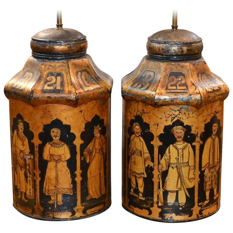 Pair of 19th Century English Tea Can Lamps For Sale