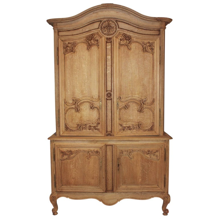19th Century French Bleached Oak Cabinet