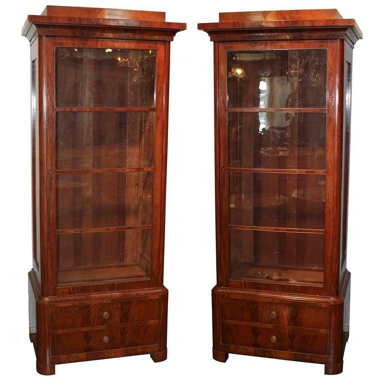 Pair of 19th Century Biedermeier Mahogany Cabinet Bookcases