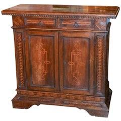 18th Century Italian Walnut Inlaid Side Cabinet