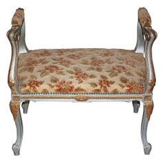 19th Century French Carved and Painted Bench
