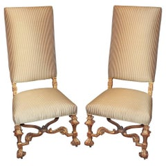 Pair of Antique Italian Tall Back Hall Chairs
