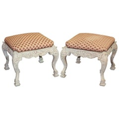 Pair of English Carved and Painted Stools