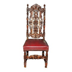 Set of Six Continental Carved Walnut Dining Chairs