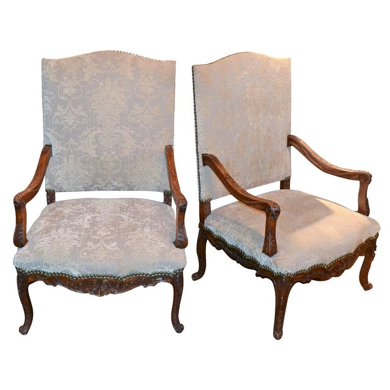 19th Century Pair of French Walnut and Upholstered Armchairs