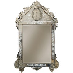 Antique Venetian Etched Glass Mirror