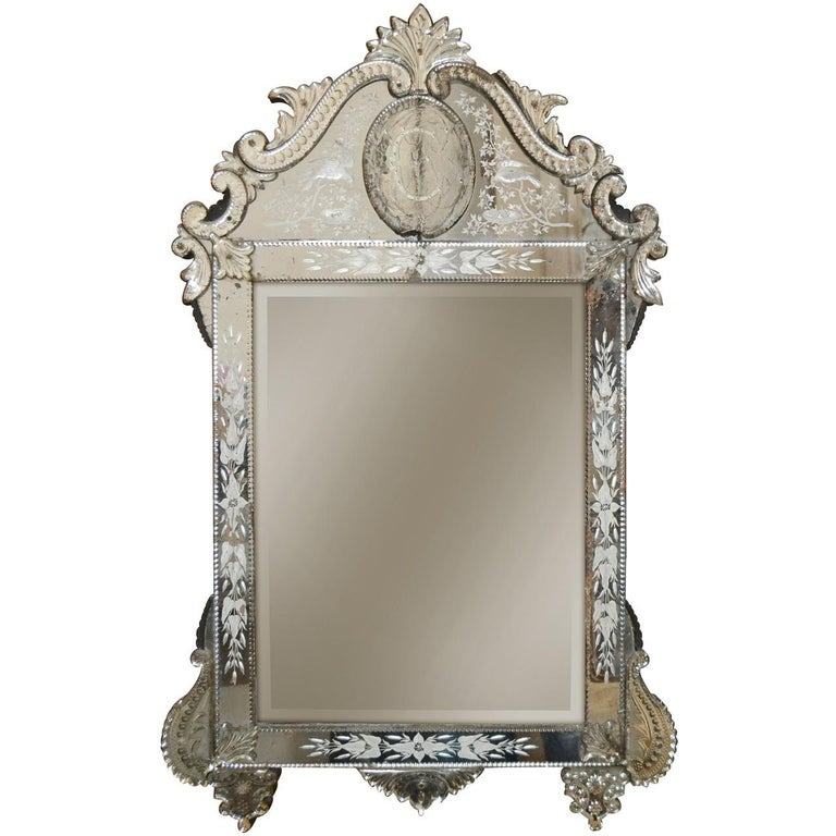 Antique Venetian Etched Glass Mirror For