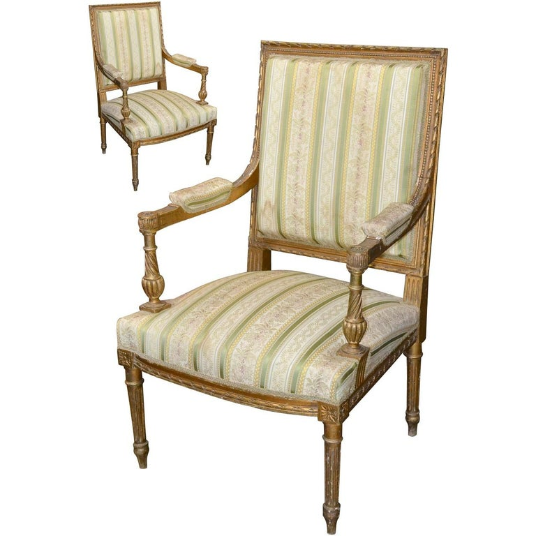 19th Century Pair of French Louis XVI Armchairs