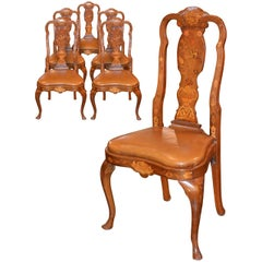 Set of Six 19th Century Dutch Marquetry Inlaid Dining Chairs