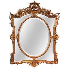 19th Century French Rococo Revival Giltwood Wall Mirror
