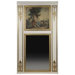 Large Antique French Trumeau Mirror, circa 1910