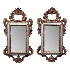 Mid-19th Century Pair of Italian Cushion Mirrors