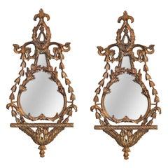 Pair of Antique Italian Giltwood Mirrors
