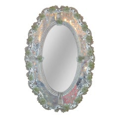 Italian Etched Venetian Glass Oval Mirror, circa 1900