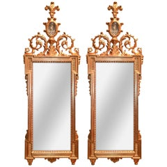 Pair of 19th Century Italian Giltwood and Etched Mirrors