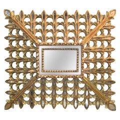 Italian Carved Gilt Wood Sunburst Mirror, circa 1940
