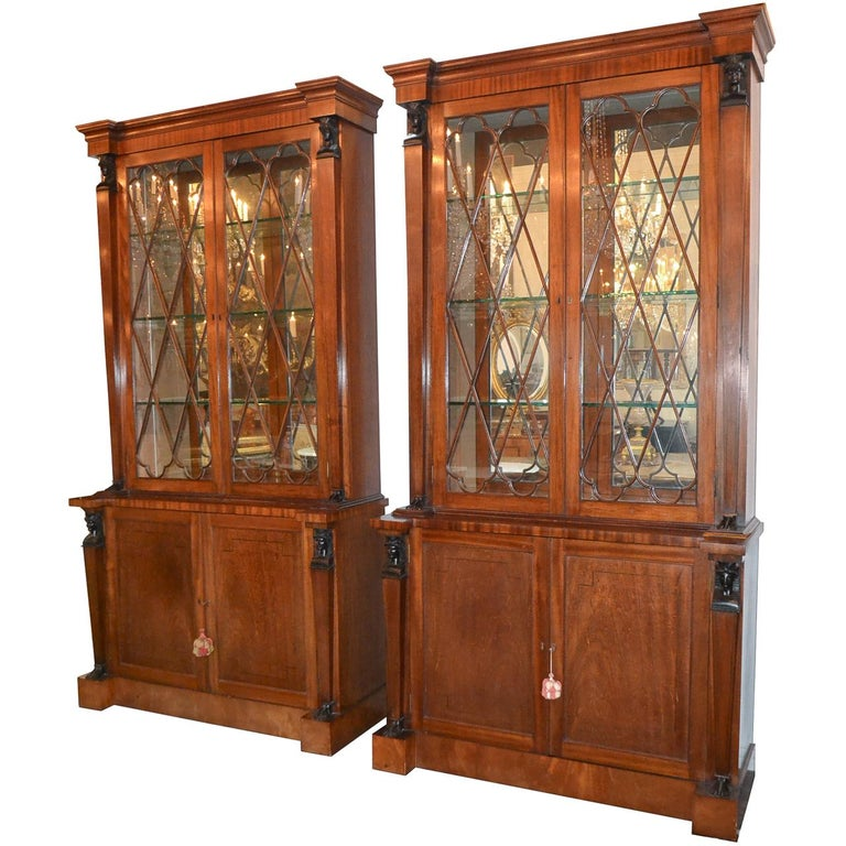 Pair of English Regency Mahogany Cabinets