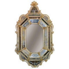 Venetian Etched Glass Mirror, circa 1920