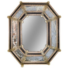 Venetian Etched Glass Octagonal Mirror, circa 1920