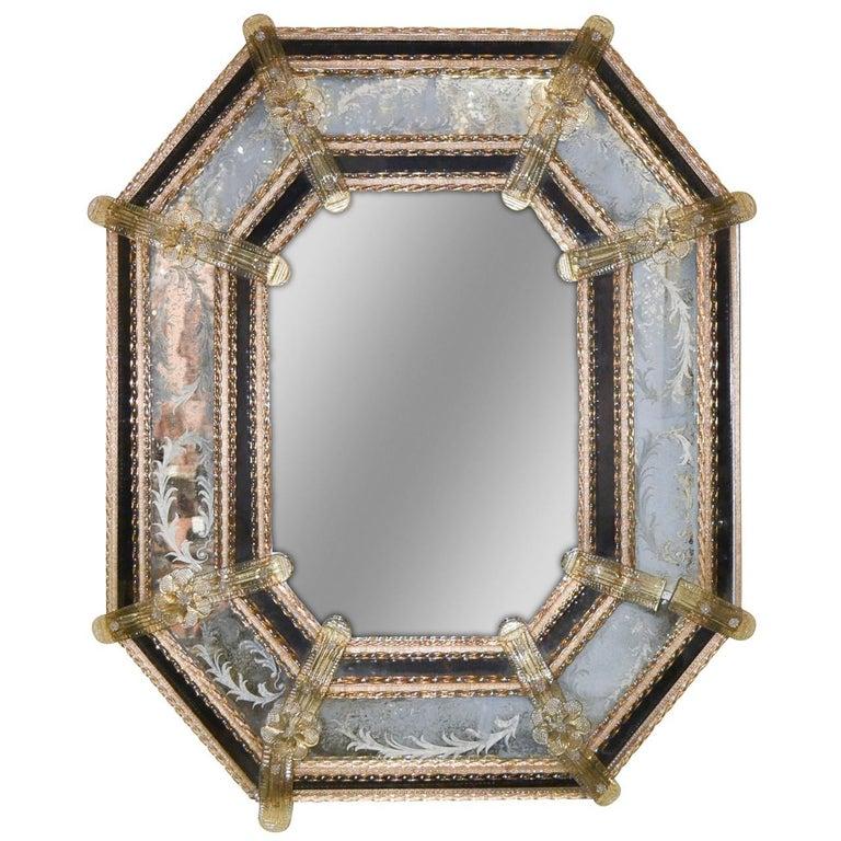 Venetian Etched Glass Octagonal Mirror, circa 1920
