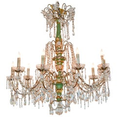 19th Century Italian Crystal and Giltwood Chandelier