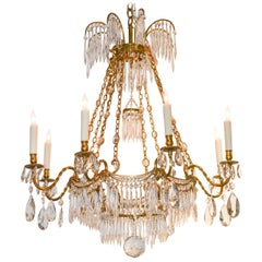 19th Century Swedish Bronze and Crystal Chandelier