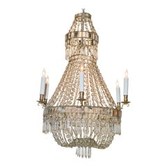 Swedish Crystal Basket Chandelier, circa 1900