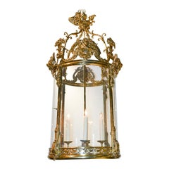 19th Century French Regency Brass and Glass Lantern