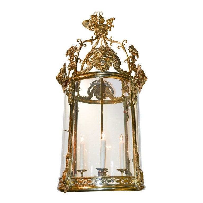 19th Century French Regency Brass and Glass Lantern