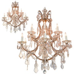 Pair of French Maria Theresa Crystal Chandeliers
