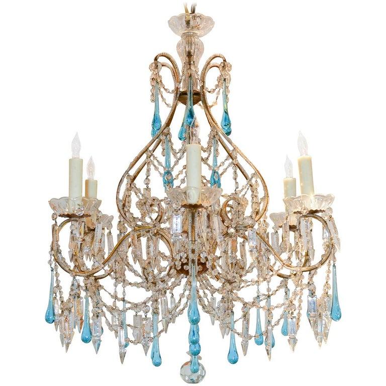 Antique Italian Blue Crystal Chandelier Circa 1910 For