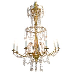 18th Century Italian Giltwood and Crystal Chandelier