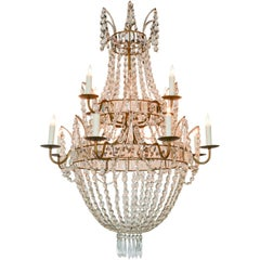 Swedish Crystal Basket Chandelier, circa 1920