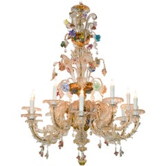 Antique Venetian Multi-Color Blown Glass Chandelier
