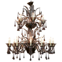 Midcentury Italian Murano Black Glass Chandelier